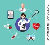 female doctor. vector... | Shutterstock .eps vector #644703142