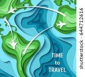 paper planes flying across... | Shutterstock .eps vector #644712616