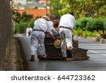 toboggan riders on sledge in... | Shutterstock . vector #644723362