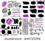 vector set of brush acrylic... | Shutterstock .eps vector #644725396