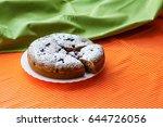 homemade cake on a white plate... | Shutterstock . vector #644726056