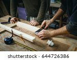professional carpenter working...   Shutterstock . vector #644726386