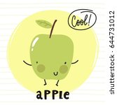 cool card with cartoon apple | Shutterstock .eps vector #644731012