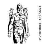 man in uniform   retro clipart... | Shutterstock .eps vector #64473316