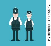 british police officers. vector ... | Shutterstock .eps vector #644733742