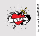 dagger through heart  old...   Shutterstock .eps vector #644734012