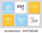 6 beautiful summer posters with ... | Shutterstock .eps vector #644738248