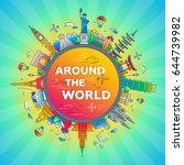 around the world   illustration ... | Shutterstock . vector #644739982