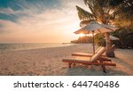 inspirational tropical beach ... | Shutterstock . vector #644740486