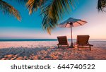 twilight beach. idyllic... | Shutterstock . vector #644740522