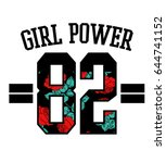 girl power text with number and ... | Shutterstock .eps vector #644741152