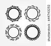 set of round frames drawn by... | Shutterstock .eps vector #644743252