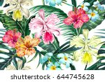 floral seamless vector tropical ... | Shutterstock .eps vector #644745628