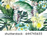tropical summer floral vector... | Shutterstock .eps vector #644745655