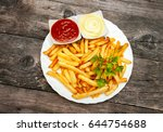 top view on plate with french... | Shutterstock . vector #644754688