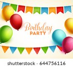 birthday background. vector... | Shutterstock .eps vector #644756116