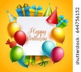 birthday background. vector... | Shutterstock .eps vector #644756152