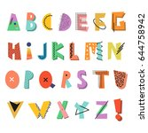 memphis alphabet. colorful... | Shutterstock .eps vector #644758942