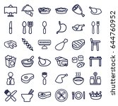 dinner icons set. set of 36... | Shutterstock .eps vector #644760952