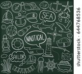 nautical sea doodle icon... | Shutterstock .eps vector #644768536