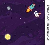 space flat vector background... | Shutterstock .eps vector #644769835
