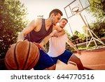 two street basketball players... | Shutterstock . vector #644770516