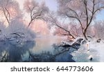 winter landscape in pink tones... | Shutterstock . vector #644773606