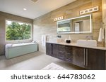 contemporary master bathroom... | Shutterstock . vector #644783062