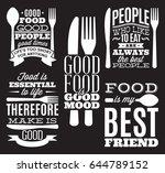 set of vintage typographic food ... | Shutterstock .eps vector #644789152