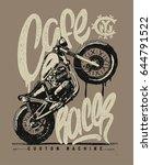 cafe racer vintage motorcycle... | Shutterstock .eps vector #644791522