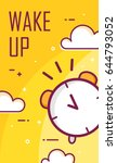 wake up poster with alarm clock.... | Shutterstock .eps vector #644793052