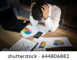 stressed business man on wood... | Shutterstock . vector #644806882