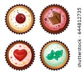 set of vector cupcakes  with... | Shutterstock .eps vector #644812735