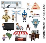 business n travel cartoon... | Shutterstock .eps vector #644816122
