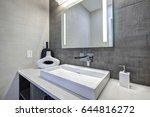 contemporary bathroom interior... | Shutterstock . vector #644816272
