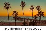 palm trees at manhattan beach... | Shutterstock . vector #644819332