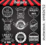 white set burger icons labels... | Shutterstock . vector #644826712
