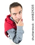 young nerd thinking isolated in ... | Shutterstock . vector #644829205