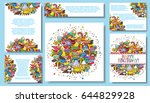 set card templates with... | Shutterstock . vector #644829928