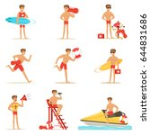 lifeguard man character doing...   Shutterstock .eps vector #644831686