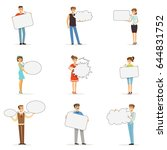 young man and woman standing... | Shutterstock .eps vector #644831752