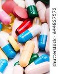 medicine green and yellow pills ... | Shutterstock . vector #644837572