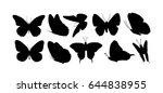 set silhouettes of butterflies. ... | Shutterstock .eps vector #644838955