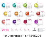 calendar for 2018 year. vector... | Shutterstock .eps vector #644846206