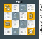 calendar for 2018 year. vector... | Shutterstock .eps vector #644846566
