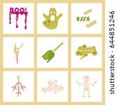 assembly flat icons halloween... | Shutterstock .eps vector #644851246