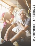senior man workout in... | Shutterstock . vector #644858116