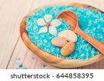 spa salt and stones  flower...   Shutterstock . vector #644858395