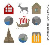 city sights vector icons.... | Shutterstock .eps vector #644859142