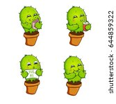 cactus print with texts in...   Shutterstock .eps vector #644859322